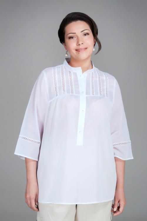 The women's lace long blouse with stand-up collar
