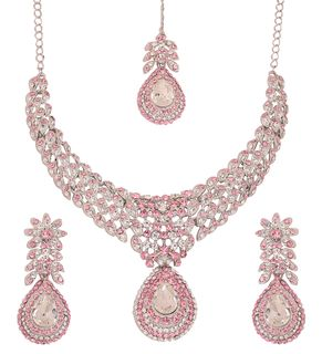 Touchstone Indian White Pink Fuchsia Alloy Metal Designer Jewelry Necklace Set In Silver Tone For Women