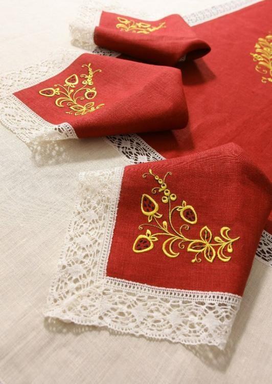 Napkin 'Golden Khokhloma' embroidery