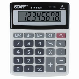 Desktop calculator STAFF STF-5808, COMPACT (134x107 mm), 8 digits, dual power supply