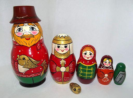 """Vyatka souvenir / Painted matryoshka 6 ave. """"Russian fairy tales"""""""
