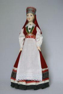 Doll gift. Estonian women's costume ser. 19th century. The Village Of Saaremaa, Mustjala, Boasts, Estonia.