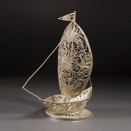 "Kazakov Filigree / Souvenir ""Sailboat"" silvering"