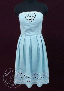 Dress women's blue linen