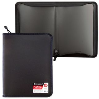 The zip folder plastic BRAUBERG Standard, standard invoice, A4, 325х230 mm, matte, black