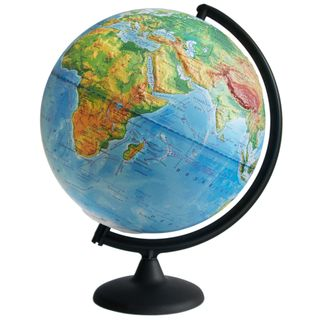 Physical relief globe with a diameter of 300 mm