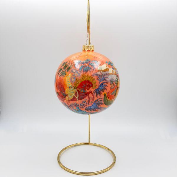 "Palekh / Christmas tree ball ""Troika"" glass, master Kuzmenko"