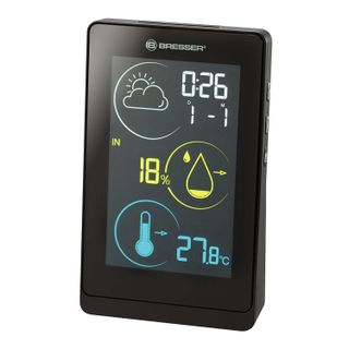 BRESSER weather station Temeo H Life, temperature sensor, hygrometer, clock, alarm, calendar, black