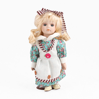 Porcelain doll Spring beige blue dress