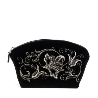 """Velvet cosmetic bag """"Romance"""" black with silver embroidery"""