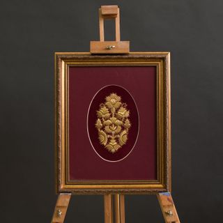 """Panels hand embroidery """"Bouquet"""" Burgundy with gold embroidery"""