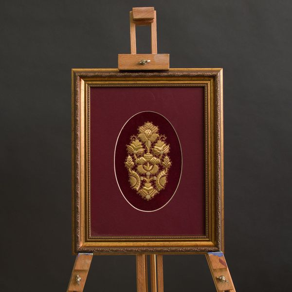 Panels hand embroidery 'Bouquet' Burgundy with gold embroidery