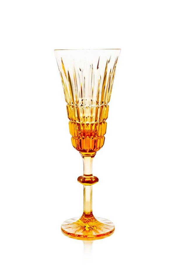 """Set of crystal glasses """"Lily"""" amber, drawing """"Honey Savior"""" 6 pieces"""