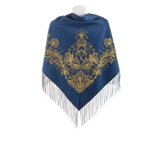 "Shawl ""Butterflies"" blue, gold embroidery"