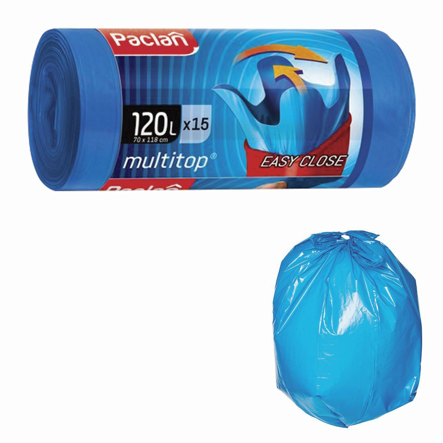 "PACLAN / Garbage bags ""Multitop"" 120 l, with ears, blue, LDPE, 24 microns, 70x118 cm, roll of 15 pcs."