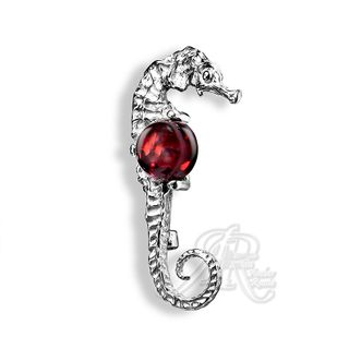 Amber of Russia / Brooch Seahorse, silver plated casting