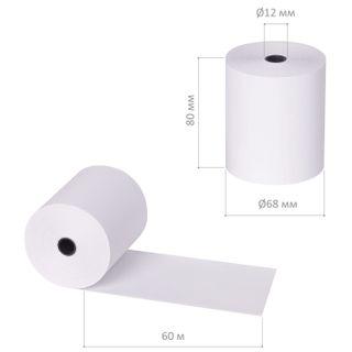 Receipt tape thermal PAPER 80 mm (diameter 68 mm, length 60 m, the sleeve 12 mm) SET of 6 PCs, BRAUBERG