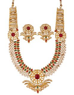 Touchstone Indian Red Green White Crystals Alloy Metal Grand Raani Haar Necklace Set In Antique Gold  Tone For Women