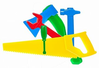 Master OK (saw, hammer, ax, screwdriver, key), colorful children's tool for boys and girls, teaches to count, develops thinking.