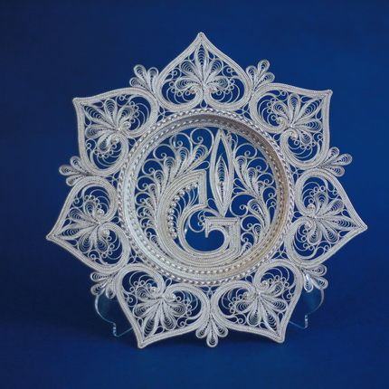 Dish 'Flame' silvering, Kazakovo Filigree