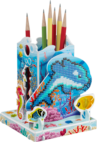 3D puzzle: pencil holder with a diamond mosaic Dolphin flipper