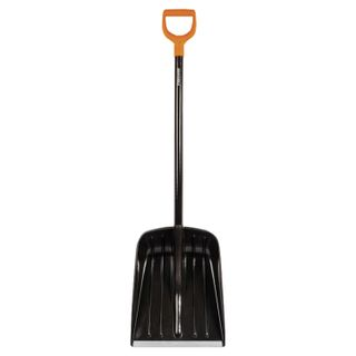 FISKARS / Plastic snow shovel, 38x35.5 cm, height 133 cm, aluminum edge, wooden handle