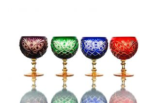 "Set of crystal glasses for cognac ""Pharaoh"" multicolored 4 pieces"