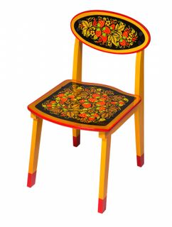 "Khokhloma painting / Wooden children's chair ""Khokhloma painting"" yellow legs, 3 height category"