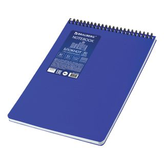 Notebook A5, 80 sheets, spiral plastic, cover, plastic, cell, BRAUBERG