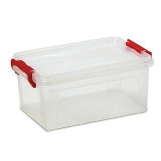 IDEA / Box 25 l, with snap lid, for storage, 24x48x32 cm, plastic, transparent