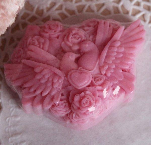Doves are dark pink - handmade olive soap