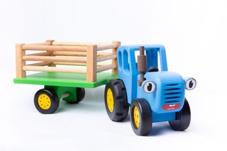 "BOCHART / Wooden toy ""Blue Tractor with a trailer"""