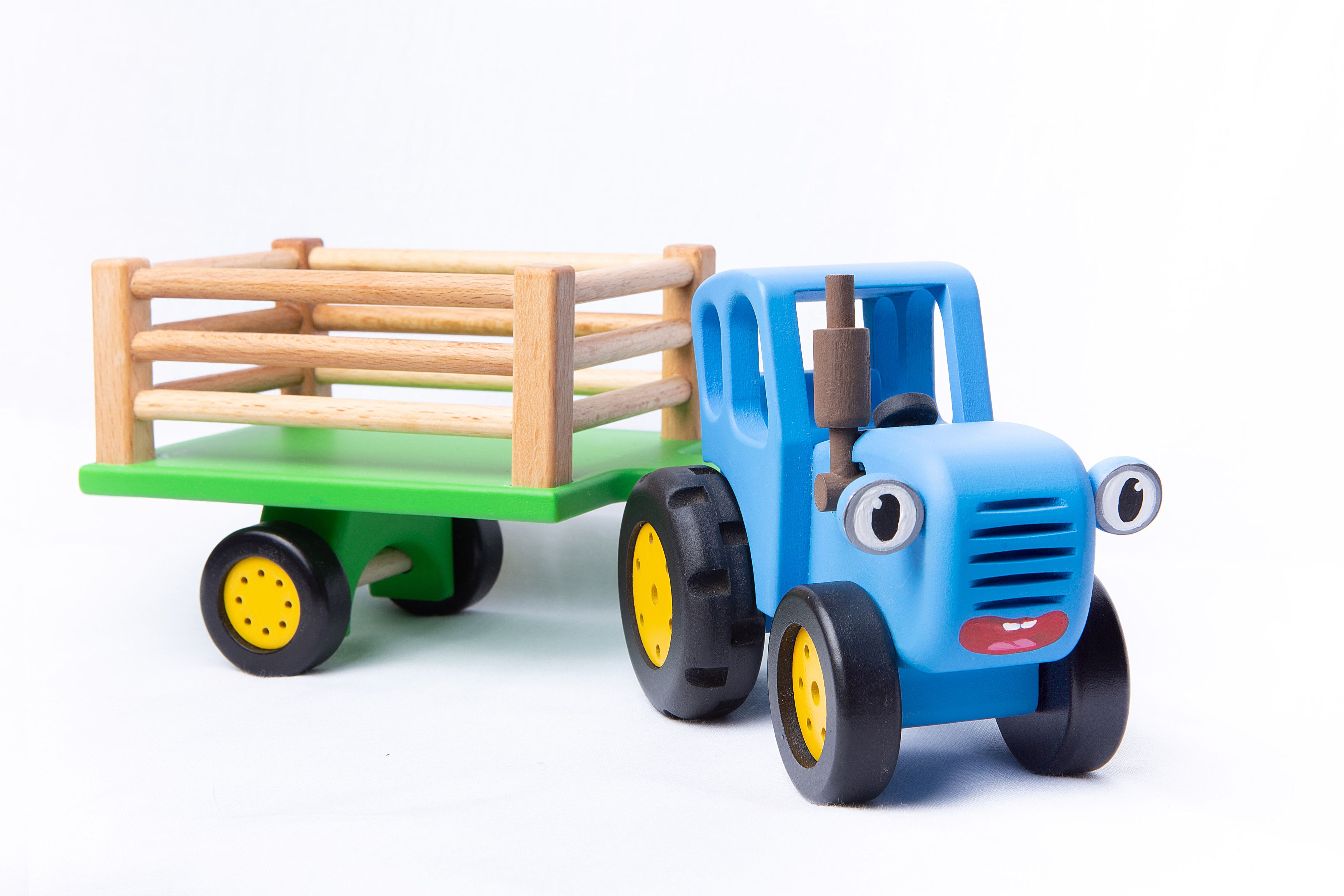 """BOCHART / Wooden toy """"Blue Tractor with a trailer"""""""
