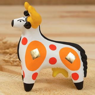 Dymkovo clay toy Bull white