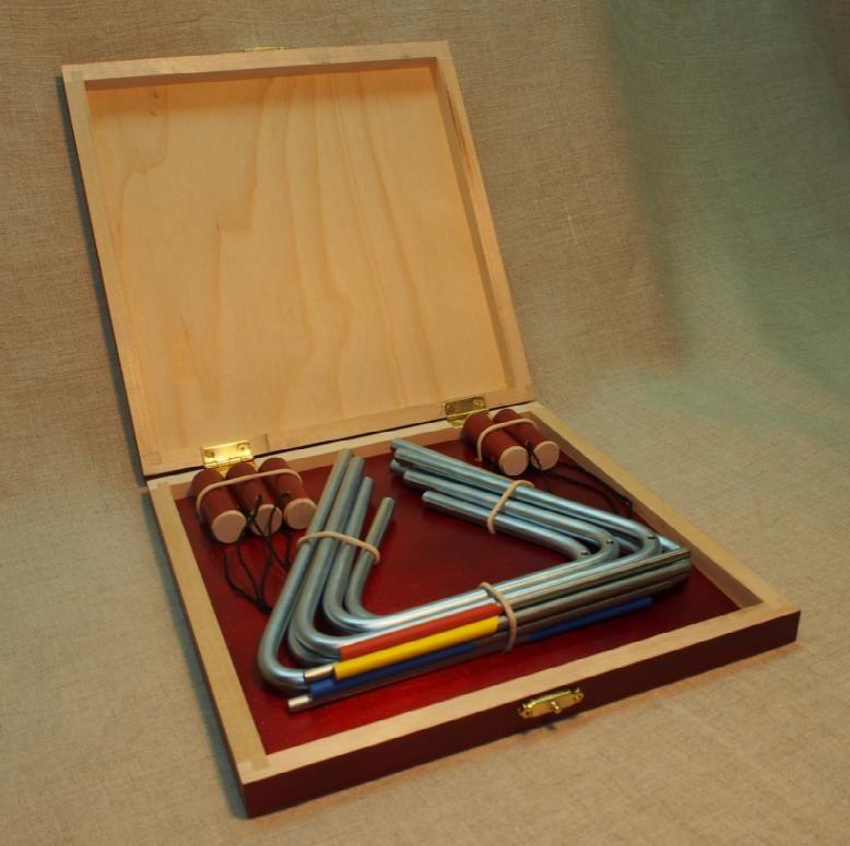 "Workshop Serebrov / Set of triangles No. 1 ""Profi"" in a wooden case (10-12-14-16-18 cm, diameter 8 mm.)"