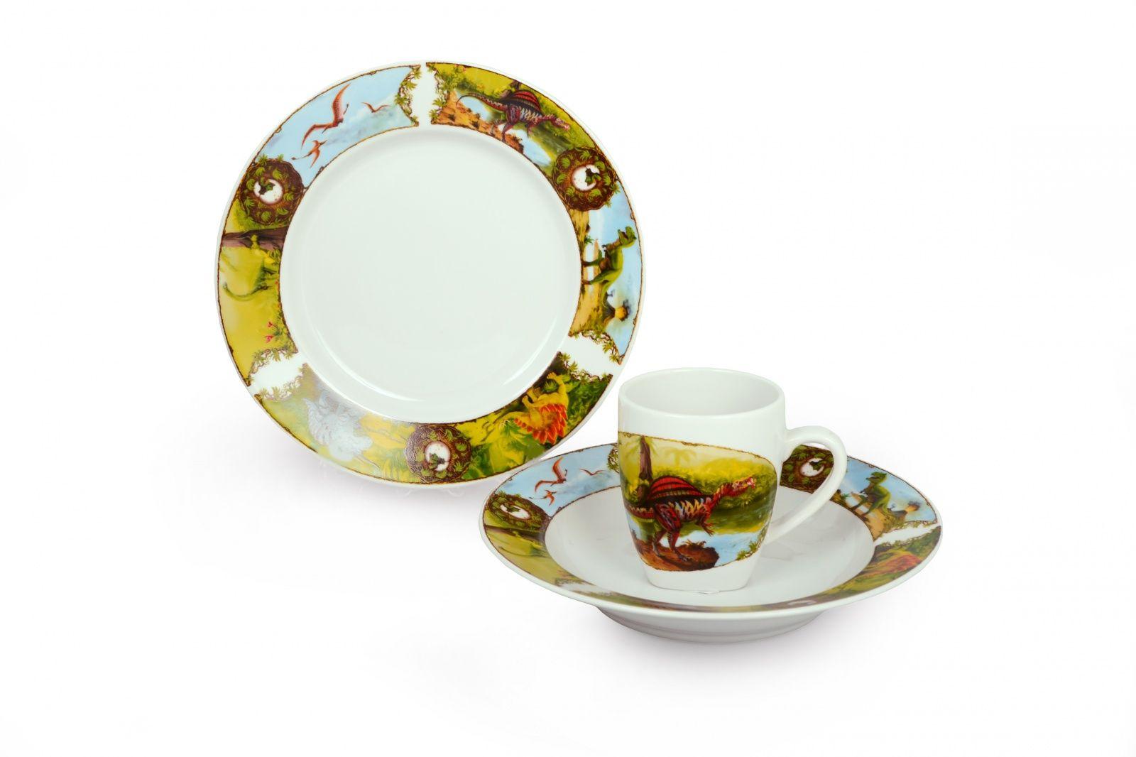 Dulevo porcelain / A set of dishes 3 ave.Dinosaurs (t. 200 mm chalk, t. Depth 200 mm, mug 210 ml Gloria)