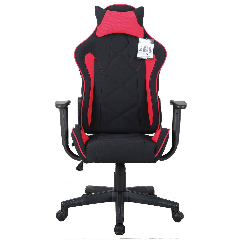 "Computer chair BRABIX ""GT Racer GM-101"", pillow, fabric, black / red"