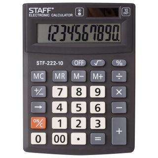Desktop calculator STAFF PLUS STF-222, COMPACT (138x103 mm), 10 digits, dual power supply