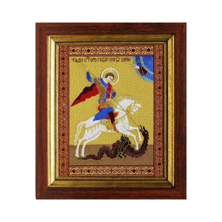 "The icon ""George the victorious"" yellow color with Golden embroidery"