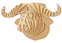 3D figure - Head of the African buffalo KVK Brown
