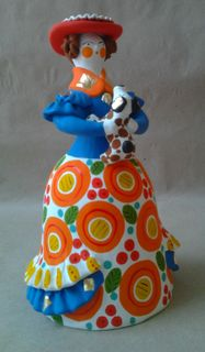 Lady with a dog in a blue jacket, Dymkovo clay toy