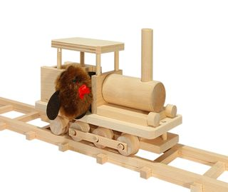 Pelsi / Constructor Wooden track # 2 steam locomotive with doll, 167 elements
