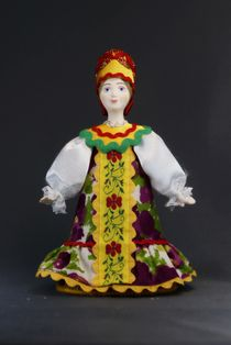 Doll gift porcelain. Women's traditional costume (styling). Rus.