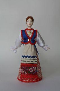 Doll gift porcelain. In Sortavala.Estonians-Seto. Festive girl's costume. Late 19th - early 20th century.