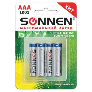 SONNEN / Batteries Super Alkaline, AAA (LR03, 24A), alkaline, little fingers, blister, SET 4 pcs.