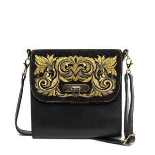 """Leather bag """"Isabelle"""" in black with gold embroidery"""