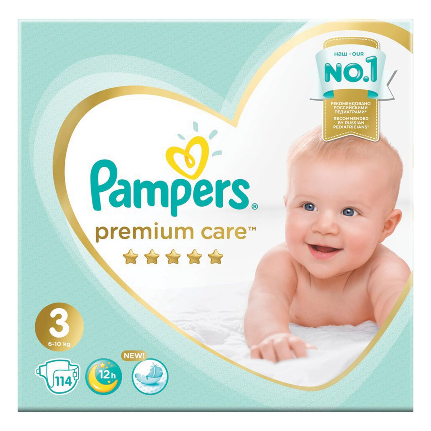 """PAMPERS / """"Premium Care"""" diapers, size 3 (6-10 kg), 114 pcs."""