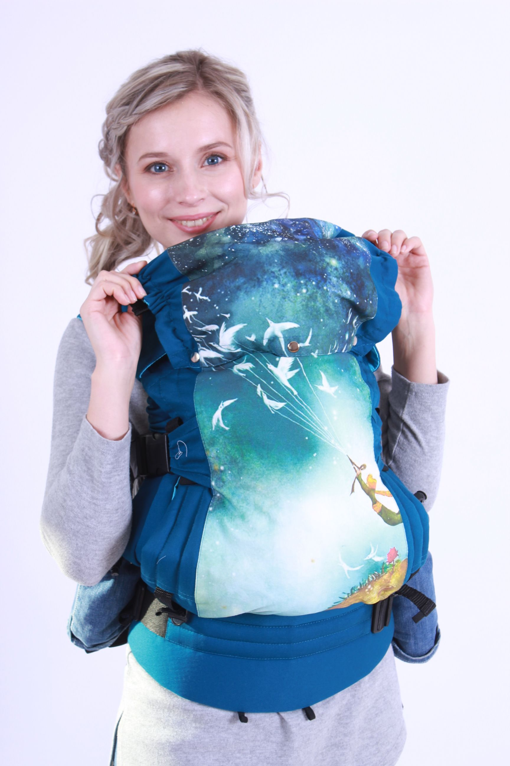"""Ergpack for newborns Guslenok STANDARD EXCLUSIVE """"The Little Prince"""", sea wave"""