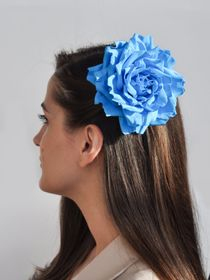 Brooch hairpin Rose light blue