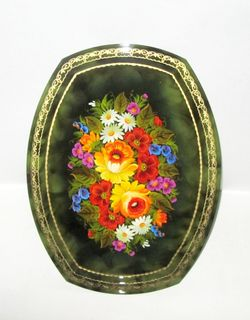 "Metal tray ""Poluoval"" 400x300 mm with the author's painting."